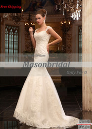 Wholesale 2013 New Design Sexy Lace Mermaid Wedding Dresses Spaghetti Straps Sweetheart Chapel Train Tulle