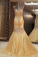 Wholesale Mermaid Sweethart Applique Beads Blingbling Floor Length Satin Prom Evening Celebrity Wedding Dress