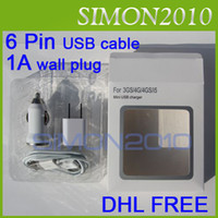 Wholesale 3 in charger mini car charger AC wall charger US EU usb cable for iphone g s