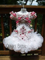 baby photo custom - 2016 Cute Little Baby Girls Pageant Dresses Cupcake Luxury Crystals Pageant Flower Beaded Organza Birthday Gowns