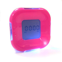 Wholesale Blue LED Four Sided Alarm Clock Time Timer Temperature Calendar Birthday Gift xm710