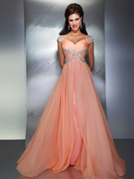 Wholesale 2013 Pageant Dress Evening Dresses Beaded Crystals Cap Sleeves Coral Prom Dresses M