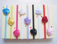 Wholesale Hot sale Baby Elastic Headbands soft gleamy hairband with Satin Ribbon rose flowers beauty