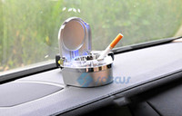 Wholesale The Silver Car Ashtray with Blue LED Light