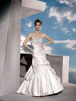 Reference Images Portrait Satin Strapless Beaded Satin Ball Gown Chapel Train Bridal Wedding Dress 2012 Demetrios 4290 J07