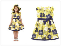 Wholesale New Girl dress Teenage dress for about years children Yellow dress with bowknot and floral pr
