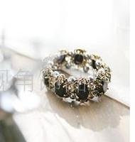 Wholesale European retro fashion pattern Black Beaded Pearl alloy bracelet