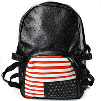 Wholesale New US Vintage US Unisex Casual Native American Flag PU Backpack Bag
