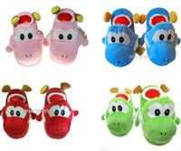 Wholesale Yoshi Super Mario Brothers Slippers Plush quot yoshi pink red blue green colorful