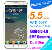 Wholesale 5 quot Bluebo L100 N7100 Android Cell Phone MTK6577 Dual Core GB RAM GB ROM Free Leather Case