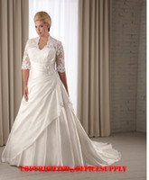 Wholesale sweetheart Scalloped lace Wedding dresses Bridal Gown with length sleeve