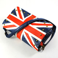 Wholesale Ladies Union Jack Round Rivet Studded Flap Mini Shoulder Bag Blue