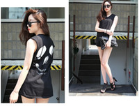 Wholesale skull skeleton Irregular punk style Back hollow out tops T shirt can Drop Sh