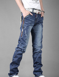 Wholesale New Men s Jeans Slim Fit Straight Trousers Zipper Style dropshipping