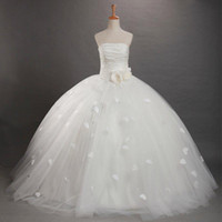 Wholesale 2012 Hot White Strapless Pleated Flower Tulle Ball Gown Floor Length Flower Girls Dress Party Gowns