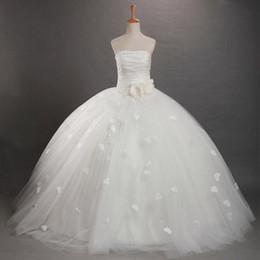 Wholesale 2015 Fleur Robes Filles Blanc Bustier Plissé Flower Tulle Ball Gown Longueur étage Robes Filles Robes Enfants Prom Dresses