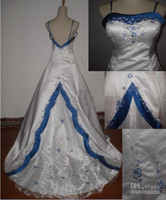 Lace blue and white wedding dress - New arrival White and blue Sexy satin wedding dress gown Formal Gown dress size and color freedom