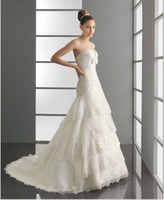 Wholesale Gorgeous Strapless Empire Organza Lace Bride Bolero Jacket Wedding Dresses Bridal Gown Wedding Gowns