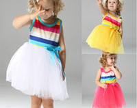 Wholesale Girls Dress Baby Rainbow Dresses Kids Stripe Vest Children TUTU Gauze factory direct