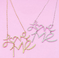 Wholesale New Fashion Hammered Silver Plated Golden Metal Pendant Letter Love Me Pendant Necklace
