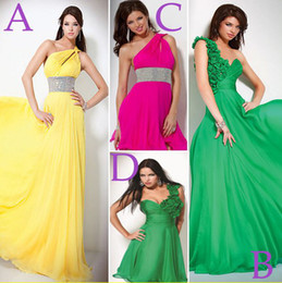 Wholesale Fashion Yellow Green One shoulder Chiffon Pleated Long Short Prom Evening Formal Dresses Dress Gown