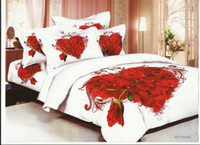 Wholesale promotion red heart rose cotton full queen bedding set quilt duvet covers comforter sets