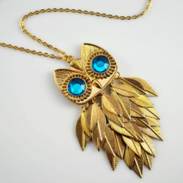 Wholesale Hot new arrival cute golden antique silver personality scales owl necklace