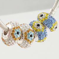 Wholesale 925 Sterling Silver Charms Beads Sexy Crystal Rhinestone European Jewelry Fashion DIY Bracelet SZ239