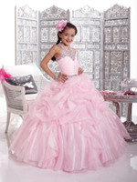 Halter Beads Organza Little Girl's Pageant Dresses 2013 Hot Selling Pink Halter Crystals Organza Ball Gown Flower Girl Dresses