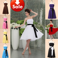 Chiffon short strapless dress - Cheap Blue Red Purple Yellow White Pink Black Brown Bow Chiffon Short Prom Bridesmaid dresses