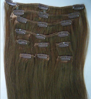 Wholesale 120g clip in hair extensions Indian Remy human hair quot quot quot brown