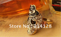 Three Stone Rings Pave setting  30pcs lot Fashion Luxurious Vintage Girls Skull With Black Hat Cool Shiny Adjustable Ring