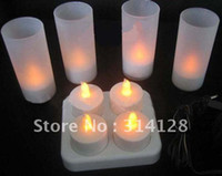 Wholesale High grade LED rechargeable candle tea lights cafe bar candle lights romantic candle with cup