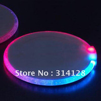 Wholesale New Arrivals Ultra thin circular luminous coasters red amp blue color gradient LED flash coaster