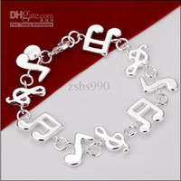 Wholesale 100 new high quality inch silver Music Charm Bracelet Fashion Girl Jewelry pc