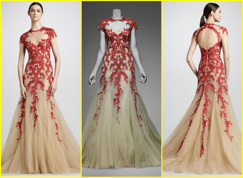 Gorgeous Red Embroidered Tulle Ball Gown Designer Prom Dresses ...