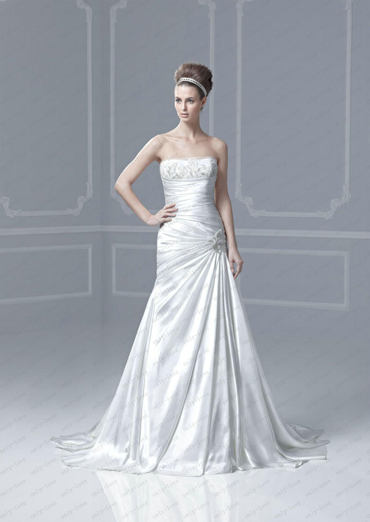 A Line Wedding Dresses Strapless
