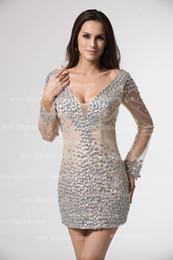 Wholesale 2013 Long Sleeves V Neck Long Sleeves Cocktail Dresses Mini Rhinestones Homecoming Dresses DH3992