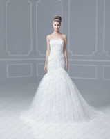 Wholesale White Mermaid Wedding Dresses Strapless Sleevless Lace Bodice Applique Chapel Train ENZOANI falcon