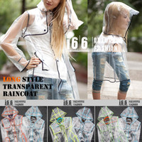 Wholesale LONG STYLE rain wear Transparent colorful edge raincoat Plastic raincoat colors