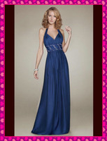 Wholesale 2013 Dark Blue Fashion Halter Beaded Waist Long Cheap Chiffon Grecian Sheath Wedding Evening Dresses