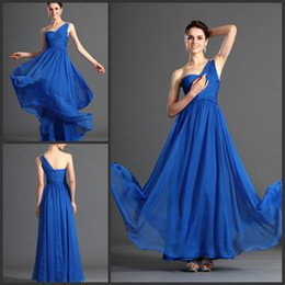 Graceful royal blue one shoulder ruced floor length long evening dress chiffon prom gown custom made