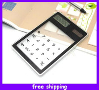 Wholesale New Portable Solar Energy Touch Screen Calculator Counter Hyaline Design Novelty Gift
