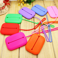 Red Stripes PVC Hot New Girl Women Simple Silicone Candy Key Case Card Bag  storage package 200pcs lot pack DHL ship