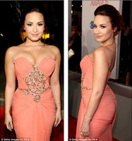 Reference Images award beadings - Hot Sale Demi Lovato Sexy Strapless Beadings Celebrity Inspired Dresses At People s Choice Awards