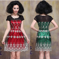 Wholesale New Ladies Elegant work dress round neck short sleeve chic dress embroidery fashion skirt