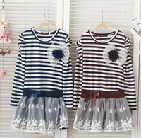 TuTu Summer Pleated Baby Girl Striped Children Lace Dress Chest With Flowers Baby Dress Tutu Dress 5Pcs Lot