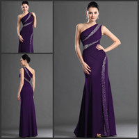 Wholesale Purple one shoulder bading chiffon fabric long prom dress sparkle evening dress lady formal dresses
