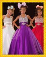 Wholesale Bling Beads Sequins Ball Gown Colorful Wedding Flower Girl Dresses Holiday Pageant Formal Occasion Purple Red White Beaded Sequin Tulle Long