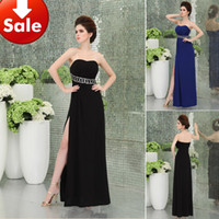 Wholesale Cheap Sexy Front High Slit Black Royal Blue Beads Long Sheath Sweep Train Cocktail Party Prom Formal Evening dresses SD030